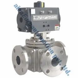 Pneumatic 4 Way Ball Valve