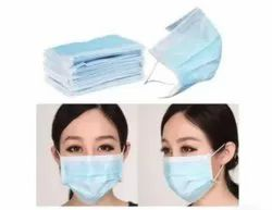 Blue Three Ply Non-Woven Disposable Face Mask, For Surgical, 3ply