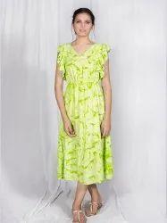 Rayon Pigment Print Kurti with Ruffle Cap Sleeves
