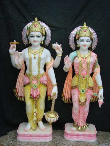 B M Natha White And Golden White Marble Lakshmi Narayan