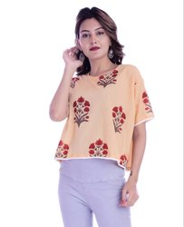 Scoop Neck Short Sleeve Cotton Printed Crop Top, Size: XXL