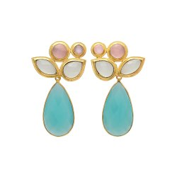 Aqua Chalcedony Gemstone Dangle Earring