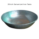 Galvanized Iron Silver Color Round Tasla, Size: 20 Inch