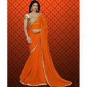 Laides Orange Plain Saree