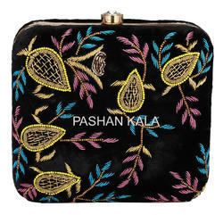 Black Fabric Zari Hand Embroidery Clutch Purses