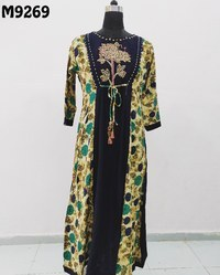 Anarkali Embroidered Jaipuri Kurti