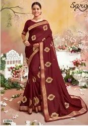 Maroon Color Fancy Silk Border Saree