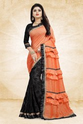 Pr Fashion Launched Beautiful Designer Running Frill Pattern Trend With This Designer Saree