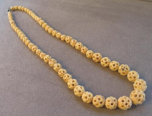 vintage bead carved bone chinese listing beads necklace graduated il