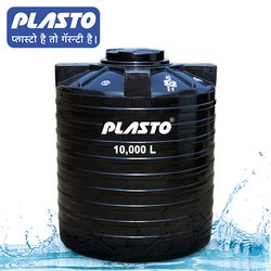 PLASTO Vertical Cylindrical Black Water Tank 10000 Liters