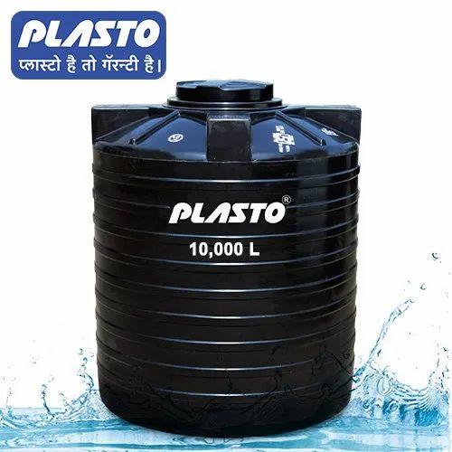 PLASTO Vertical Cylindrical Black Water Tank 10000 Liters