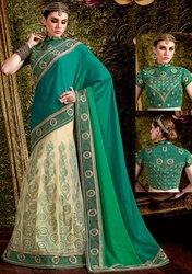 Classy Cream and Shaded Green Lehenga Saree