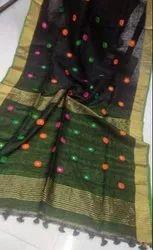 Party Wear Premium Organic 80 Count Linen Buti Handloom Saree