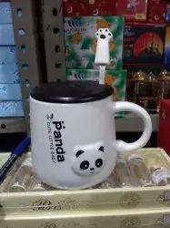 Black N White Ceramic Panda Coffee Mug, Packaging Type: Box