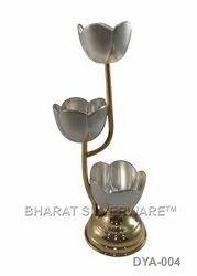Pure Silver Tulip Diya Ganga Jamuna
