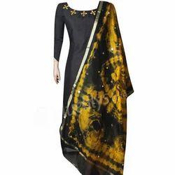 Black And Yellow Party Wear Semi Silk Salwar Kameez