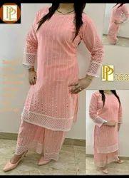 Regular Wear Shikha fabrics Sehra Chikan Kurti Fabrics