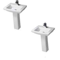 Varmora White Felice Bathroom Pedestal Sink