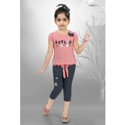 Cotton Casual Wear Kids Casual Top and Capri Set, Age: 1-12 Year