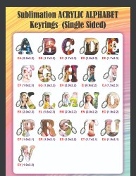 Gloss Sublimation Acrylic Alphabet Key Chains / Key Rings