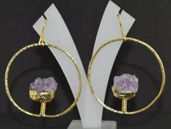 1 Pair Raw Amethyst Gemstone Hanging Electroplated Earring
