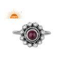 Antique Oxidized Handmade 925 Silver Natural Ruby Gemstone Ring Jewelry
