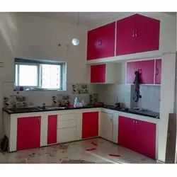L Shape Plywood Laminated Modular Kitchen