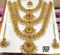 High Gold  Finish Full Bridal Sets Material Brass Weight 450 Grams Approx Box Packing