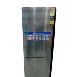 Silver Stainless Steel Haier Double Door Refrigerator, Number of Shelves: 4, Electricity