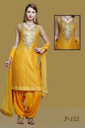Georgette  Embroidered Yellow Designer Patiala Suit