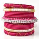 Latest Hot Pink Silk Thread Bangle