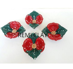 4 Decorative Clay Diwali Diya Set