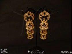 Polki Full Stone Jhumki Earrings