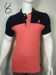 Mens Cut And Sew Polo T Shirt