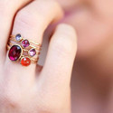 Stylish Gold Plated Rubilite Stone And Carnelian Gemstone Cocktail Statement Ring