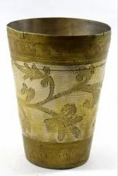 Indian Vintage Usable Hand Engraved Beautiful Brass Lassi/Milk Glass. i40-82