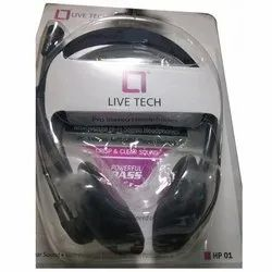 Black Wired Live Tech Pro Stereo Headphone, Model Number: Hp 01