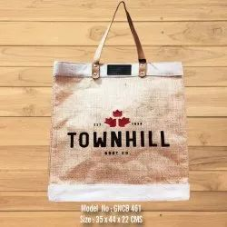 Jute Shopping Bag with Leather Handle