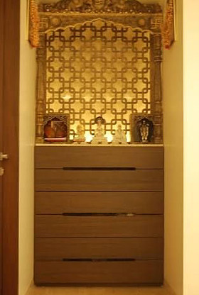 Mandir Design With Mdf Back Panel