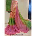 Dyed and Printed Tussar Silk Saree