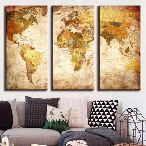 Multi Color Canvas World Map Canvas Prints Rs 5000 Piece Id