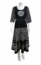 Formal Wear Printed COTTON JAIPURI HAND BLOCK DRESS, Dry clean, Size: Free Size