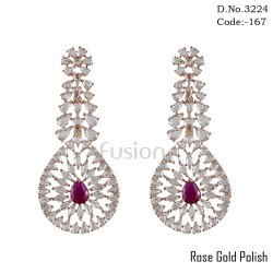 American Diamond Rose Gold Polish Earring With CZ Stones