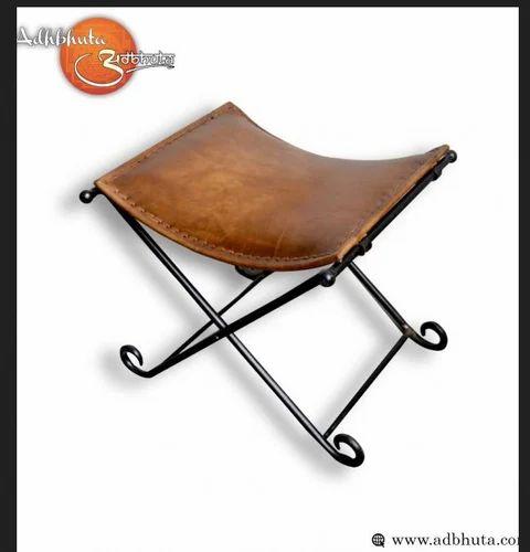 Amazing Leather Camping Stool Poofs Ghitorni New Delhi Albhuta Ibusinesslaw Wood Chair Design Ideas Ibusinesslaworg