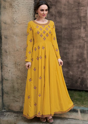 91c0f44b9c9 Heavy Rayon Festive Wear Mustard Yellow Embroidered Rayon Gown