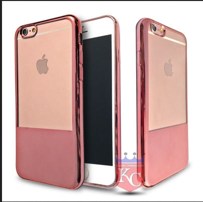 more photos 184df 2e3e3 Half Electroplated Soft Transparent Silicone Case Back Cover For Iphone 6s  Rose Gold