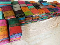 Coimbatore 6.25 Mtrs Cotton Attached Border Pallu And Blouse With Mirrow Work
