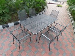 Garden Outdoor Dining Table , 6 Chairs Set- Iron - Grill