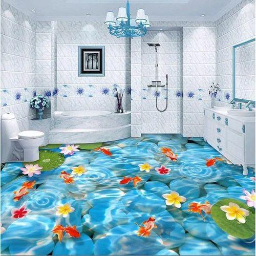 Non Slip Bathroom Floor Tiles India: Gloss 3D Floor Tiles For Bathroom, Size: 60 * 120 In Cm