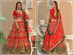 Grandiose Velvet Embroidered Wedding Wear Lehenga Choli